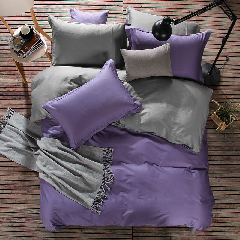 Solid Purple and Grey Color Cotton Bed Covers