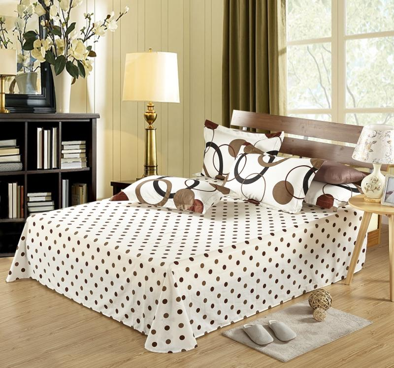 100 Cotton Bed Linen Sets , Printed Sheets Set  with Pillow Case