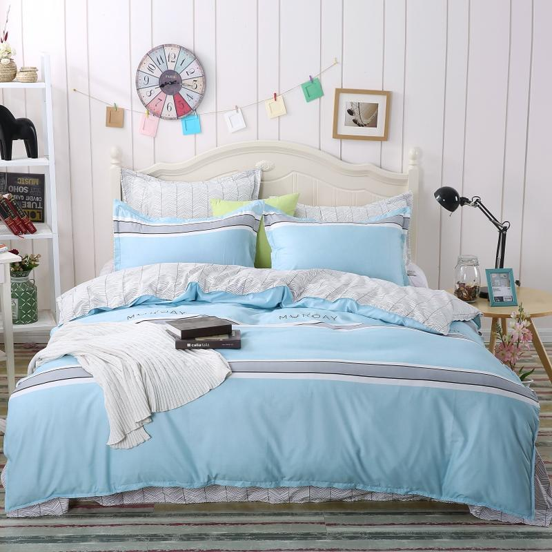 Blue Duvet Cover Simple Style Soft Brushed Microfiber