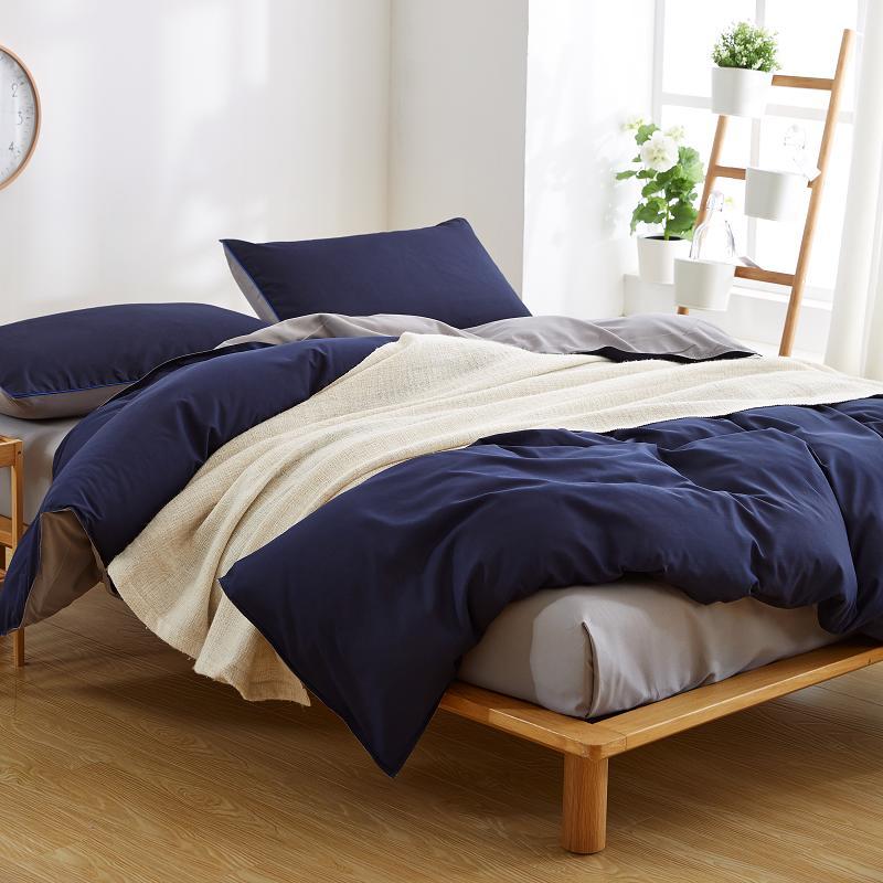 Navy Blue and Grey Duvet Cover Bedsheet Set